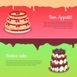 Bon Appetit. Festive Cake Web Banner. Chocolate Royalty Free Stock Photos