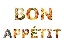 Bon appetit food collage style educational poster royalty free illustration