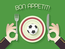 Bon Appetit! Football Or Soccer Concept Illustration With Ball Royalty Free Stock Photography