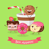 Bon Appetit. Funny Cartoon Characters Banner. Stock Images