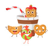 Bon Appetit. Funny Cartoon Characters Banner. Royalty Free Stock Photography
