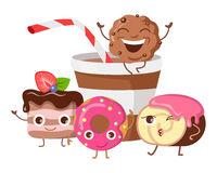 Bon Appetit. Funny Cartoon Characters Banner. Royalty Free Stock Images