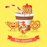 Bon Appetit. Funny Cartoon Characters Banner. Cupcake, doughnut, chocolate biscuit, cookies, cup of cola or soda. Smiling confectionery. Set of sweets in flat Stock Image