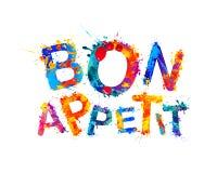 Bon Appetit. Good Appetite. Vector watercolor splash paint letters Royalty Free Stock Images