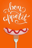 Bon Appetit! Hand lettered quote on a poster with a sausage and a fork. Vector illustration Stock Images