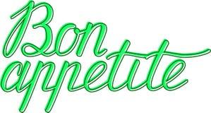 Bon Appetit handbokstäver god aptit Handgjord kalligrafi Royaltyfri Foto