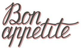 Bon Appetit handbokstäver god aptit Handgjord kalligrafi Arkivbilder