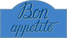 Bon Appetit handbokstäver god aptit Handgjord kalligrafi Royaltyfri Fotografi