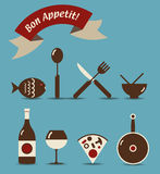 Bon Appetit Icons. An icon set of food and beverage objects with French Bon Appetit ribbon Stock Photos