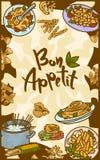 Bon appetit italian pasta concept banner, hand drawn style vector illustration