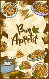 Bon appetit italienische Teigwaren-Konzeptfahne, Handgezogene Art vektor abbildung