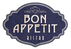Bon Appetit Kitchen Sign Plaque Victorian Enamel Bistro. Chef`s hat antique vintage retro food cooking royalty free illustration