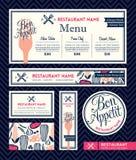 Bon appetit Restaurant Set Menu Graphic Design Template. Bon appetit Restaurant Set Menu Graphic Design Vector Template Stock Images