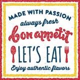 Bon appetit retro vintage print poster stock illustration