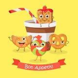 Bon Appetit Roligt baner för tecknad filmtecken stock illustrationer