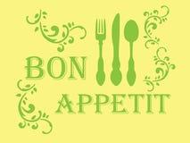 Bon appetit stencil. Yellow-green colors Royalty Free Stock Photos