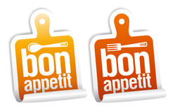 Bon appetit stickers. Royalty Free Stock Image