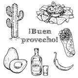 Bon Appetit! Travel to Mexico Food Culture Drink Cuisine Hand draw vector icons Royalty Free Stock Image