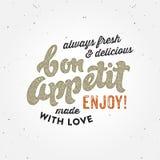 Bon appetit typografisches Konzept Retro- Plakats Stockfotos