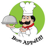 Bon appetit. Vector funny image of chef character and bon appetit text Royalty Free Stock Image