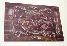 Bon Appetite aged wooden board Royalty Free Stock Image
