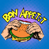 Bon appetite Burger sandwich is delicious fast food Royalty Free Stock Photo
