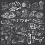 Bon Appetite för matlutningar för bröd skrivar set stordior för olik illustration vektorn Royaltyfria Foton
