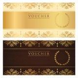 Bon, chèque-cadeaux, bon, billet. Floral  Photos stock