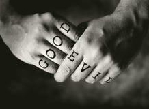 Bon contre le mal Image libre de droits