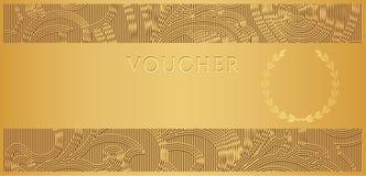 Bon d'or (billet de chèque-cadeaux, de bon) Photographie stock