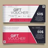 Bon de cadeau coloré, conception de bon de certificat, illustration de vecteur Photo stock
