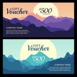 Bon de cadeau de vecteur avec la vue de paysage de montagne Photographie stock libre de droits