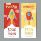 Bon de cadeau moderne avec Rocket Fly Vecteur Images libres de droits
