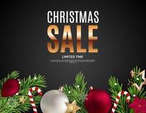 Bon de cadeau de Noël et de vente de nouvelle année, illustration de vecteur de calibre de bon de remise illustration stock