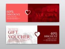 Bon de cadeau pour le jour du ` s de Valentine Photographie stock