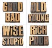 Bon et le mauvais, riches et pauvres Photos libres de droits