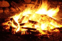 Bon Fire With Firewood Lot Royalty Free Stock Photo