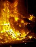Bon Fires burn during the annual Celebration of Las Fallas, Valencia, Spain Stock Photo