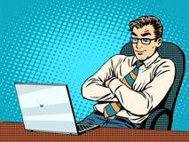 Bon homme d'affaires à l'ordinateur portable Images stock