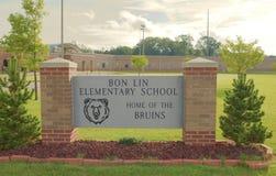 Bon Lin School Sign Memphis Tennessee arkivfoton