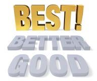 Bon, meilleur, le meilleur ! Image libre de droits