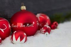 Bon Noel Merry Christmas als Kerstmis begroet royalty-vrije stock foto's