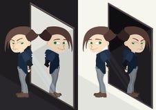 Bon ou mauvais caractère reflété dans le miroir Alter ego ou émotions illustration de vecteur