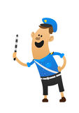 Bon sourire gai de policier et un bâton Image stock