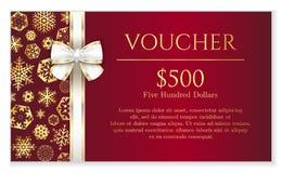 Bon van luxe de rode Kerstmis met gouden sneeuwvlok Stock Afbeeldingen