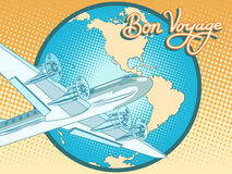 Bon voyage abstract retro plane poster. Pop art retro style. Air transport. Travel and tourism. Have a safe flight Stock Photos