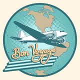 Bon voyage abstract retro plane poster. Pop art retro style. Air transport. Travel and tourism. Have a safe flight. Map of North and South America, Antarctica stock illustration