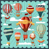 Bon Voyage Air Balloons in Clouds Collection. Bon Voyage air balloons in white clouds vector collection. Ballons for people to fly in sky and observe city view Stock Photography