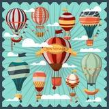 Bon Voyage Air Balloons dans la collection de nuages illustration libre de droits