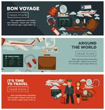 Bon voyage around world and time to travel posters. Bon voyage around world and time to travel promotional Internet posters with capacious airliner, captain in Stock Images